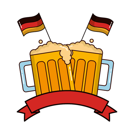 beer jars beverage with ribbon and flags of germany vector illustration design Stock Illustratie