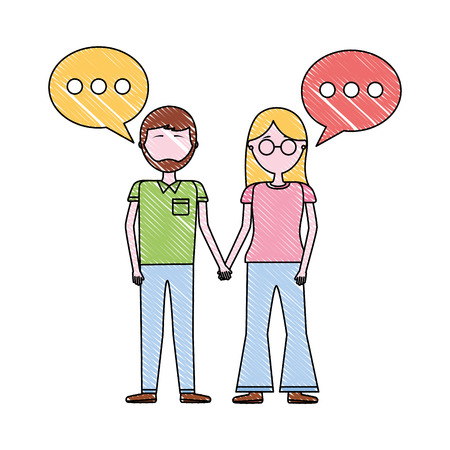 woman and man holding hands romantic vector illustration
