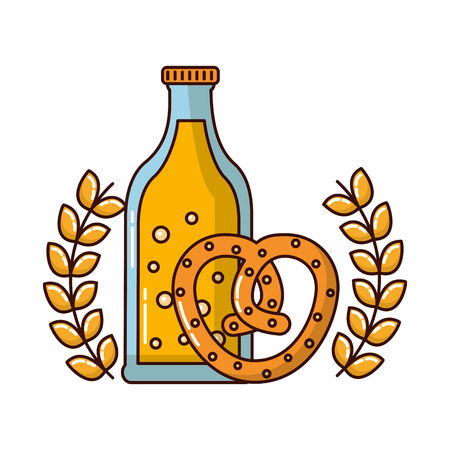 beer bottle with pretzel and crown vector illustration design