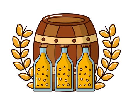 barrel wooden with bottles beer and crown vector illustration design