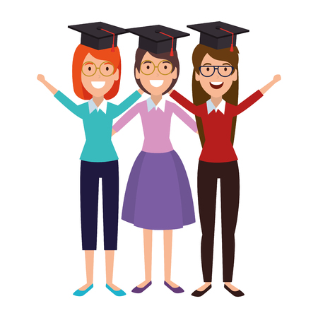 women student celebrating with hat graduation vector illustration