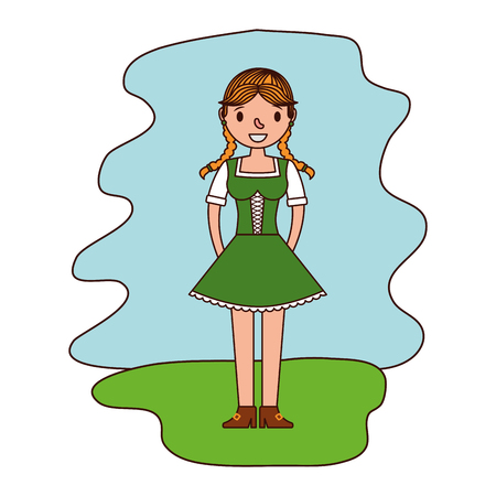 german woman with typical dress vector illustration design 向量圖像