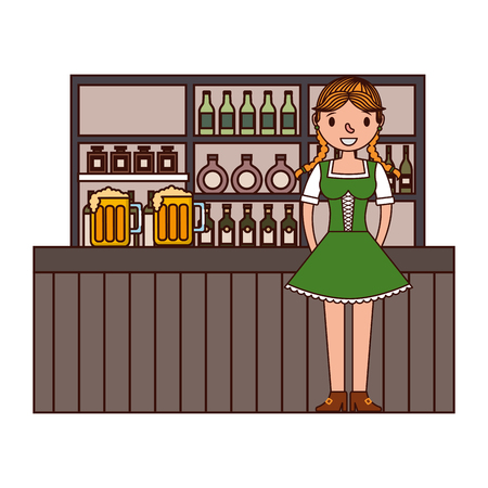 german woman with typical dress in bar vector illustration design Banque d'images - 109989987