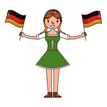 german woman with flags germany isolated icon vector illustration design Stock Illustratie