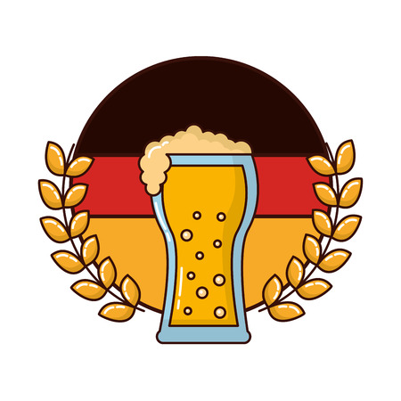 beer glass with flag germany and crown vector illustration design