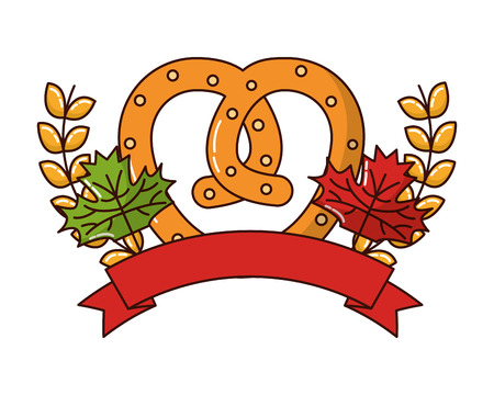 delicious pretzel with ribbon and crown vector illustration design