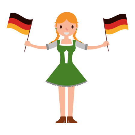 deutsche frau mit fahnen deutschland isoliert ikon vektorillustration design