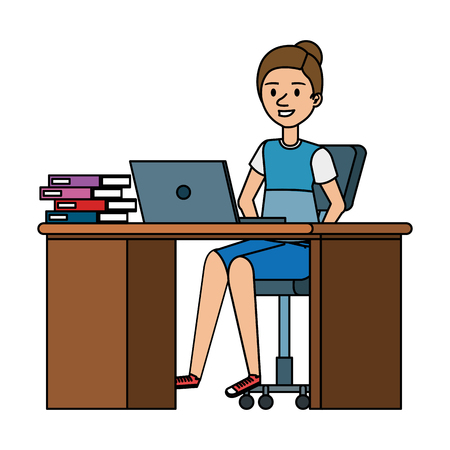young woman at desk with laptop and books vector illustration design Stok Fotoğraf - 109990059