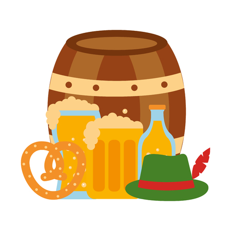 barrel beer with oktoberfest icons vector illustration design
