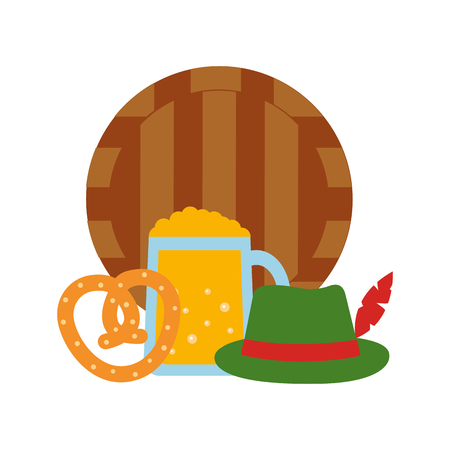 barrel wooden with beer jar and icons vector illustration design
