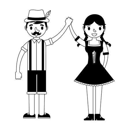 german couple with typical costume vector illustration design