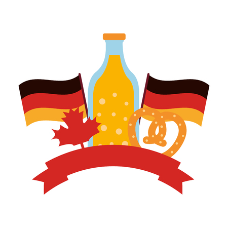 beer bottle with flags germany and ribbon vector illustration design