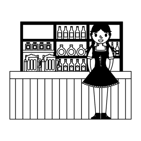 german woman with typical dress in bar vector illustration design Banque d'images - 108240873