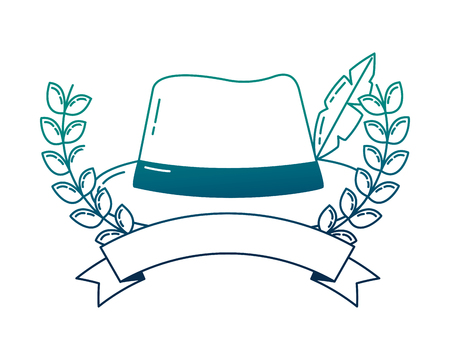 traditional german hat with ribbon and crown vector illustration design