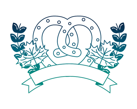 delicious pretzel with ribbon and crown vector illustration design