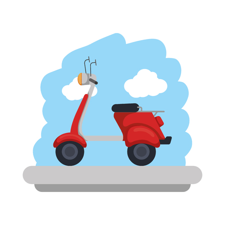 scooter bike with sky landscape vector illustration design Illustration