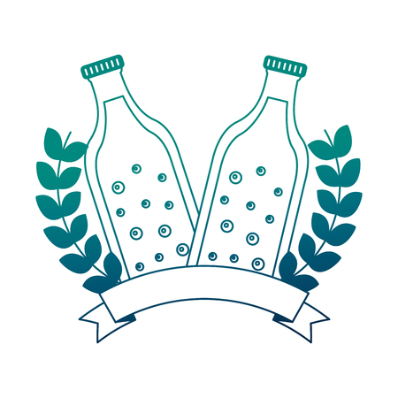 beer bottles with ribbon and crown vector illustration design