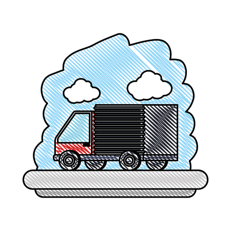 delivery service truck isolated icon vector illustration design 矢量图像