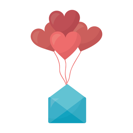 envelope mail with balloons air in heart shape vector illustration design Stock Illustratie