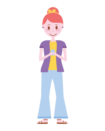 young woman with smartphone avatar character vector illustration design 일러스트