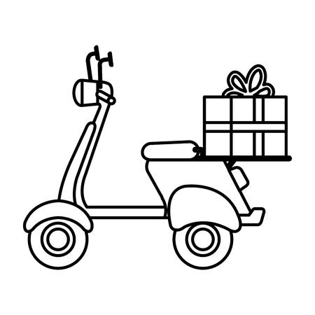 moto scooter avec conception d'illustration vectorielle cadeau