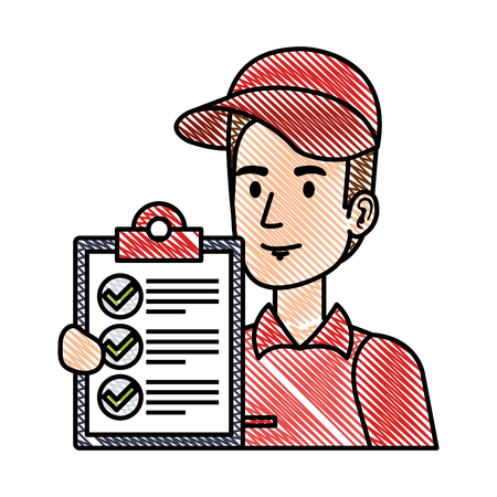 delivery worker with checklist character vector illustration design Çizim