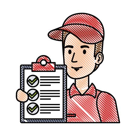 Trabajador de entrega con diseño de ilustración de vector de personaje de lista de verificación Ilustración de vector