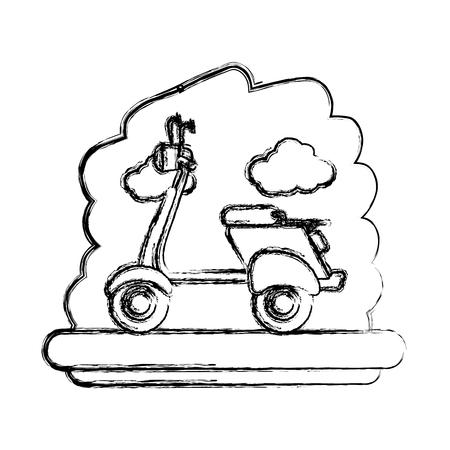 scooter bike with sky landscape vector illustration design Illustration