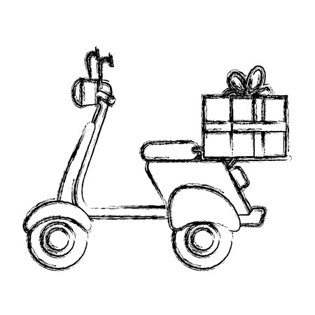 scooter motorcycle with gift vector illustration design
