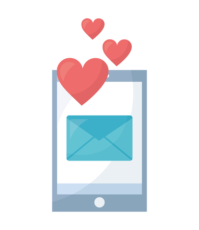 smartphone with envelope mail and hearts isolated icon vector illustration design