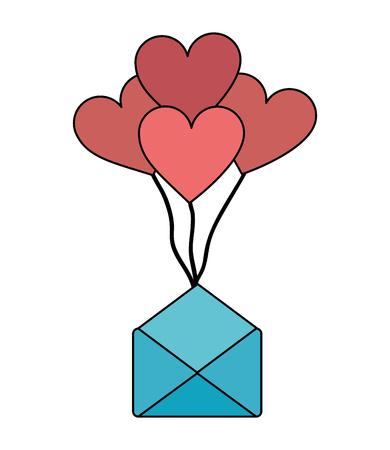 envelope mail with balloons air in heart shape vector illustration design Stockfoto - 109990270