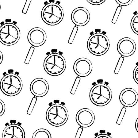 chronometer timer and magnifying glass pattern vector illustration design Ilustração
