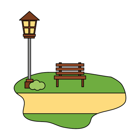 chair park with lamp isolated icon vector illustration design