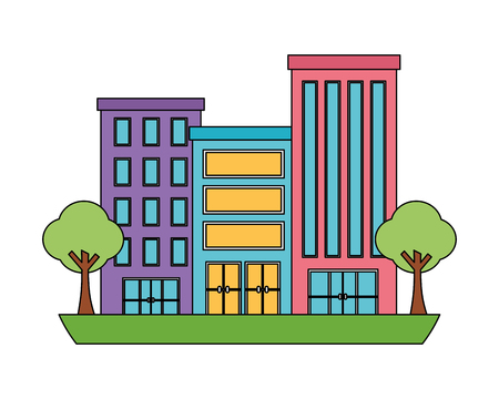 buildings structure with trees plants isolated icon vector illustration design