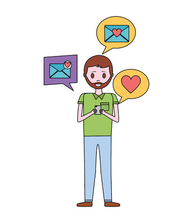 young man with smartphone and set icons vector illustration design