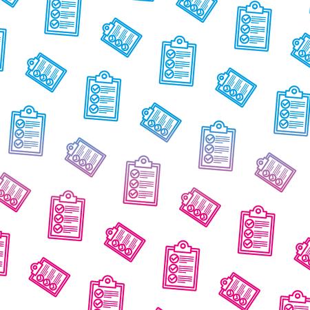checklist clipboards pattern background vector illustration design