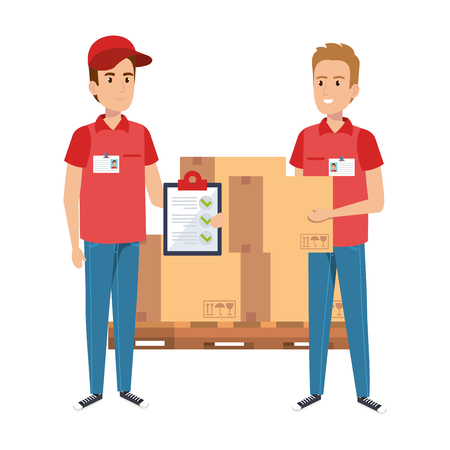 delivery workers with pile boxes and checklist vector illustration design