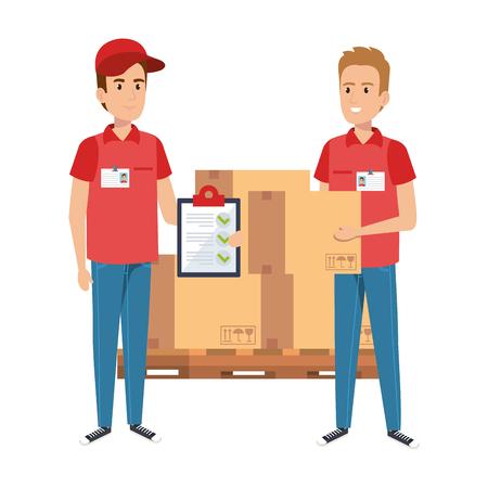 Los trabajadores de entrega con cajas de pila y lista de verificación, diseño de ilustraciones vectoriales
