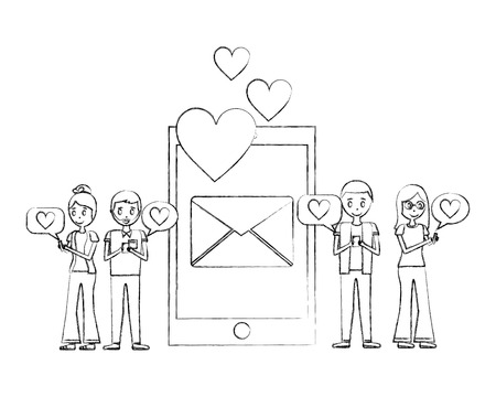 smartphone two couples message email love hearts vector illustration hand drawing Çizim