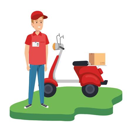 Trabajador de entrega en motocicleta y caja, diseño de ilustraciones vectoriales Ilustración de vector