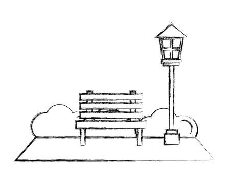 park bench lamppost bushes natural vector illustration hand drawing Stock Vector - 109990401