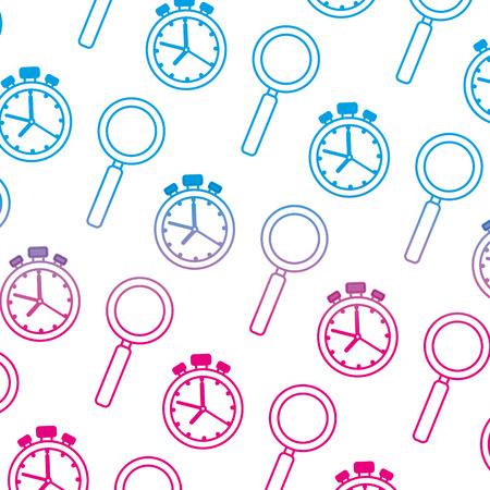 chronometer timer and magnifying glass pattern vector illustration design Illustration