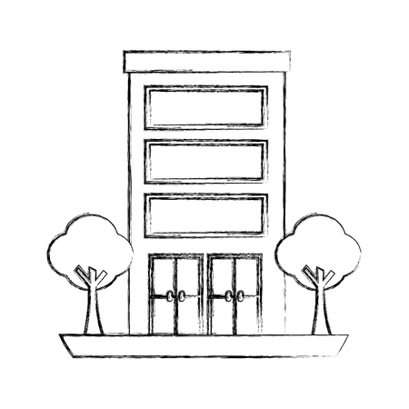 building architecture facade exterior trees vector illustration hand drawing