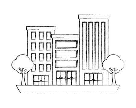buildings city facade trees town scene vector illustration hand drawing Illustration