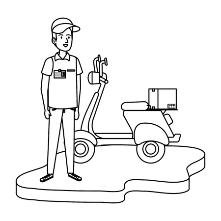 delivery worker in motorcycle and box vector illustration design