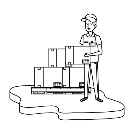 delivery worker with pile boxes vector illustration design Illustration