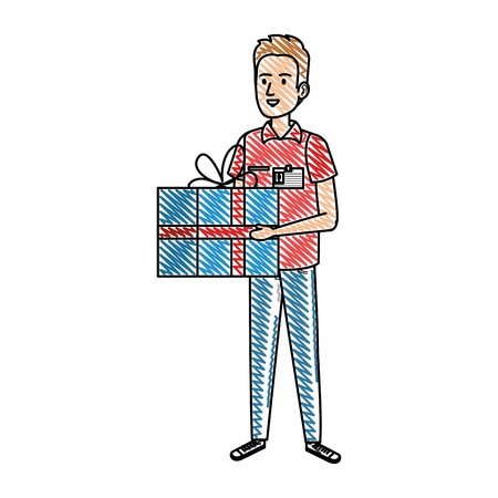 delivery worker with gift character vector illustration design