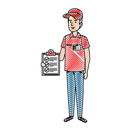 delivery worker with checklist character vector illustration design Illustration