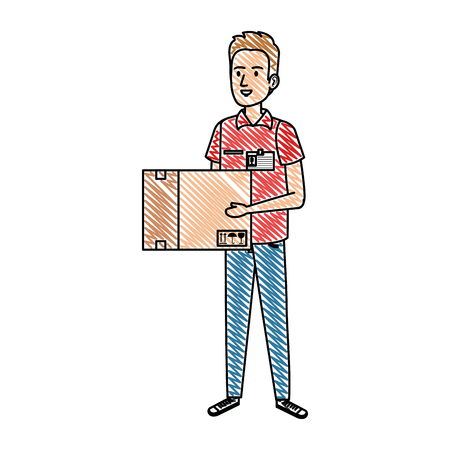 delivery worker lifting box character vector illustration design Illustration