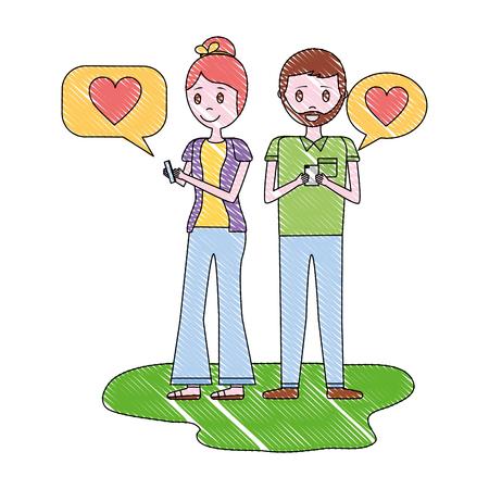 jong koppel met mobiel chatten mobiele liefde vectorillustratie Vector Illustratie